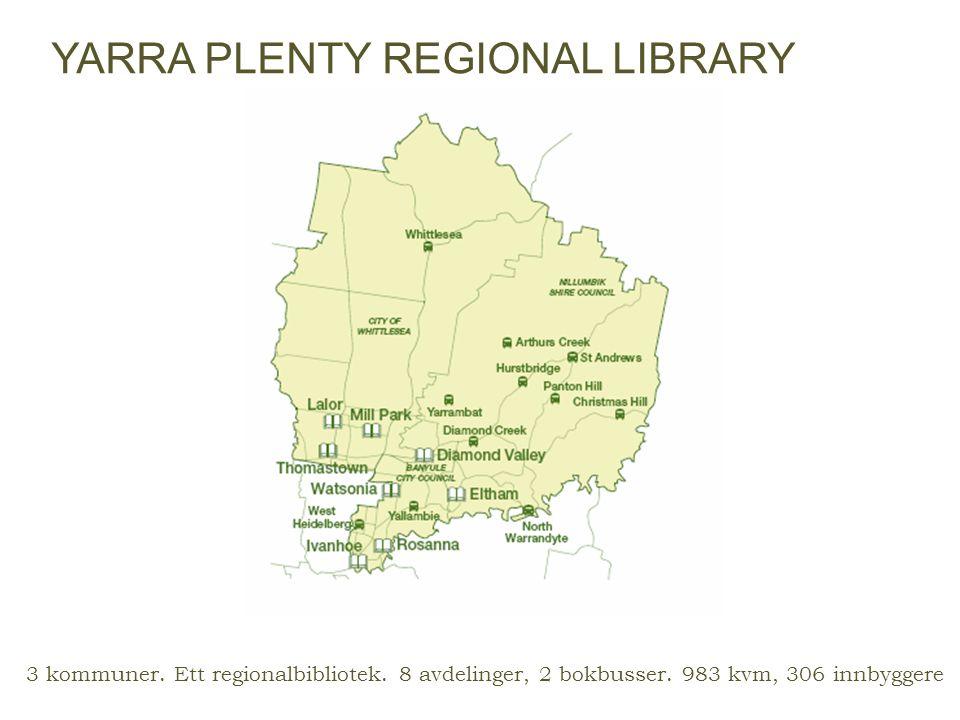 3 kommuner. Ett regionalbibliotek. 8 avdelinger, 2 bokbusser. 983 kvm, 306 innbyggere YARRA PLENTY REGIONAL LIBRARY