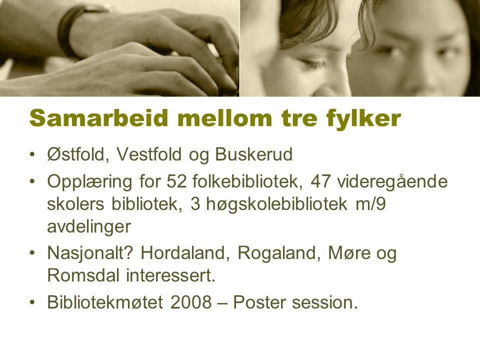 Samarbeid mellom tre fylker Østfold, Vestfold og Buskerud Opplæring for 52 folkebibliotek, 47 videregående skolers bibliotek, 3 høgskolebibliotek m/9 avdelinger Nasjonalt.