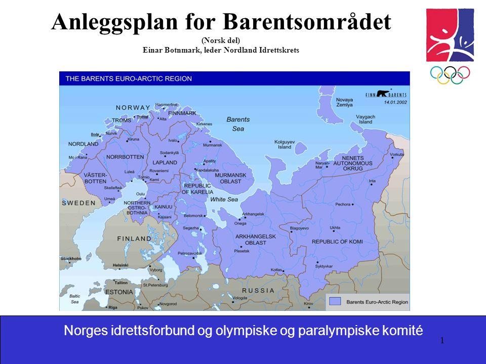Norges idrettsforbund og olympiske og paralympiske komité 1 Anleggsplan for Barentsområdet (Norsk del) Einar Botnmark, leder Nordland Idrettskrets