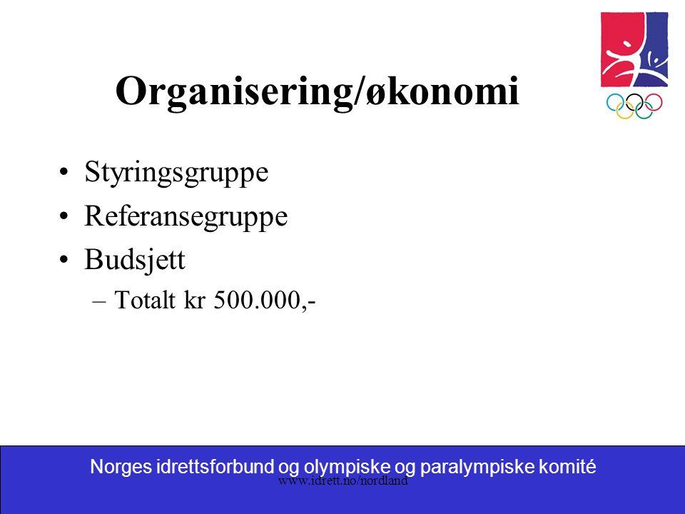 Norges idrettsforbund og olympiske og paralympiske komité www.idrett.no/nordland Organisering/økonomi Styringsgruppe Referansegruppe Budsjett –Totalt