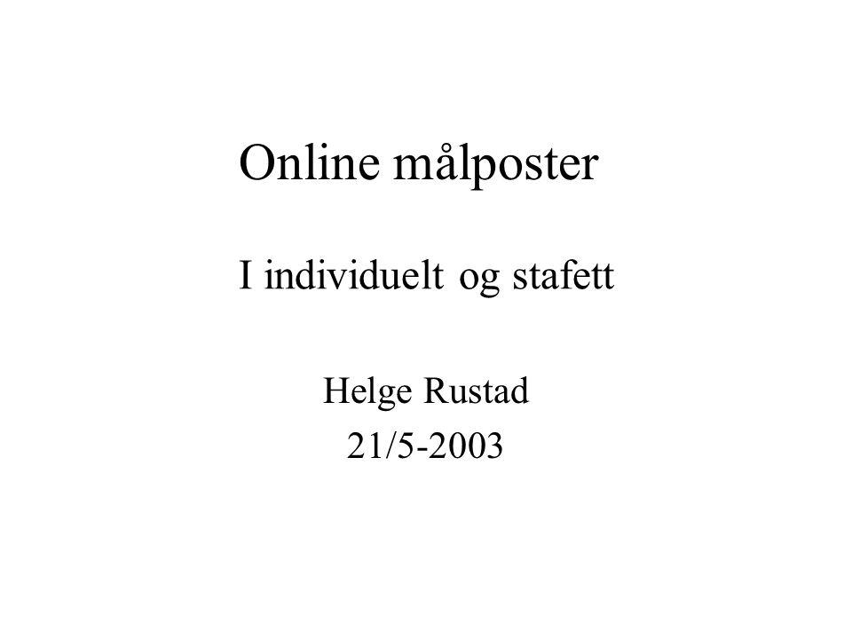 Online målposter Helge Rustad 21/5-2003 I individuelt og stafett