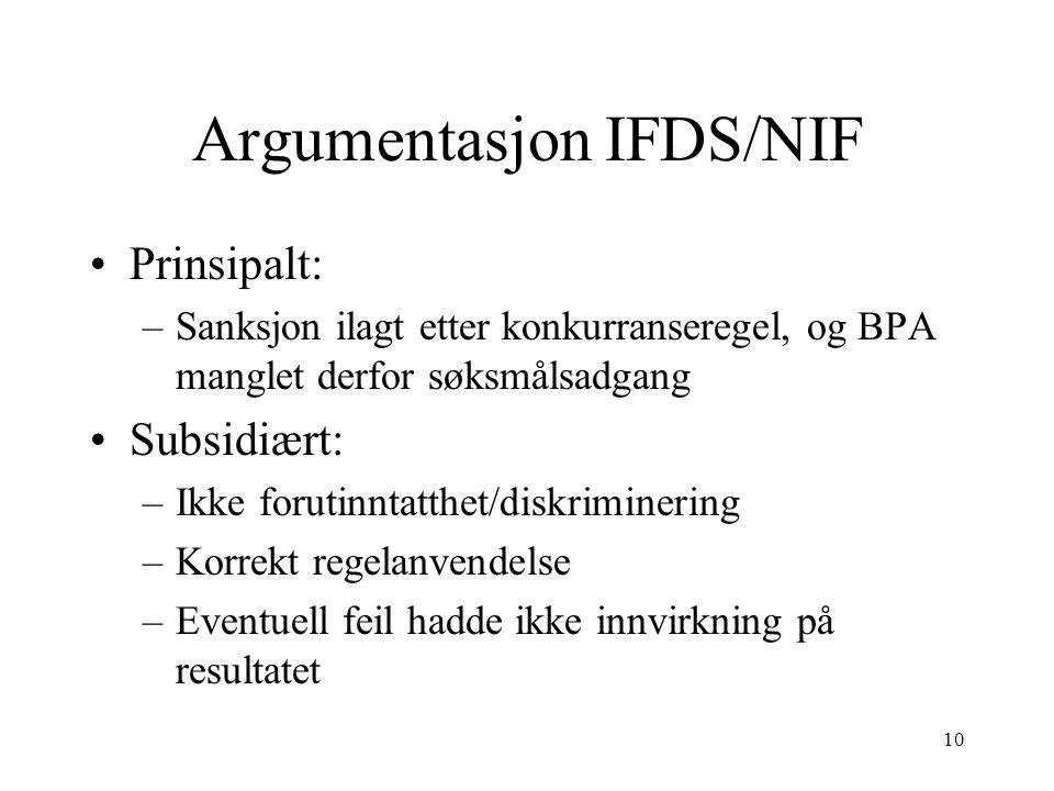 Argumentasjon IFDS/NIF Prinsipalt: –Sanksjon ilagt etter konkurranseregel, og BPA manglet derfor søksmålsadgang Subsidiært: –Ikke forutinntatthet/disk