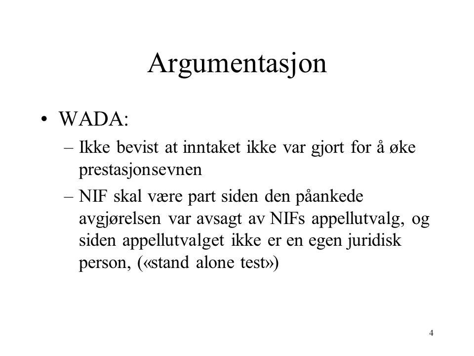 Argumentasjon WADA: –Ikke bevist at inntaket ikke var gjort for å øke prestasjonsevnen –NIF skal være part siden den påankede avgjørelsen var avsagt a