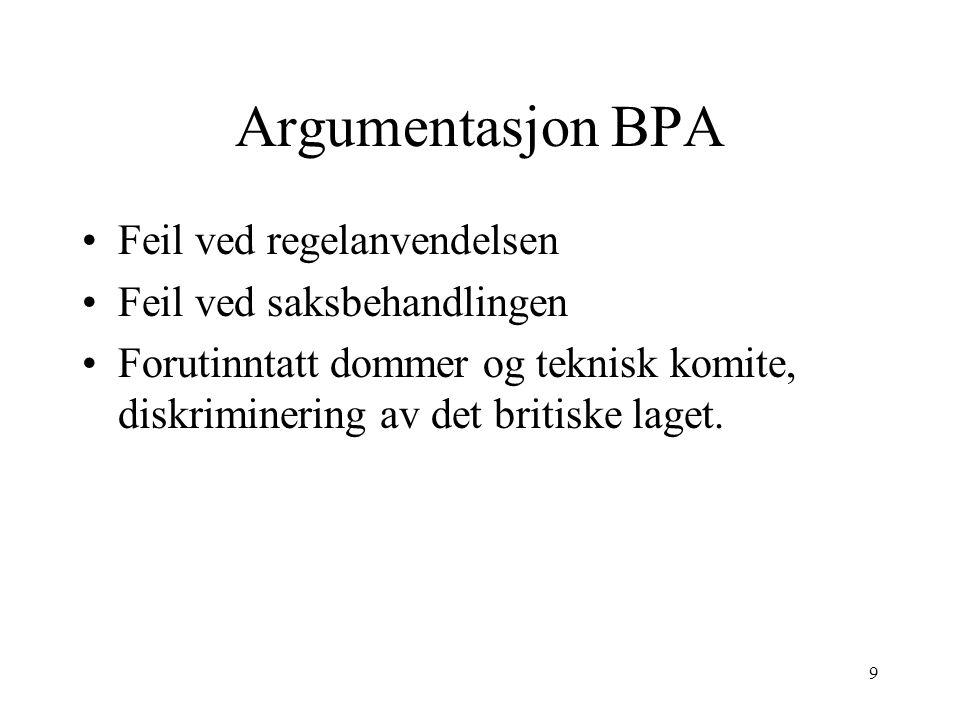 Argumentasjon BPA Feil ved regelanvendelsen Feil ved saksbehandlingen Forutinntatt dommer og teknisk komite, diskriminering av det britiske laget. 9