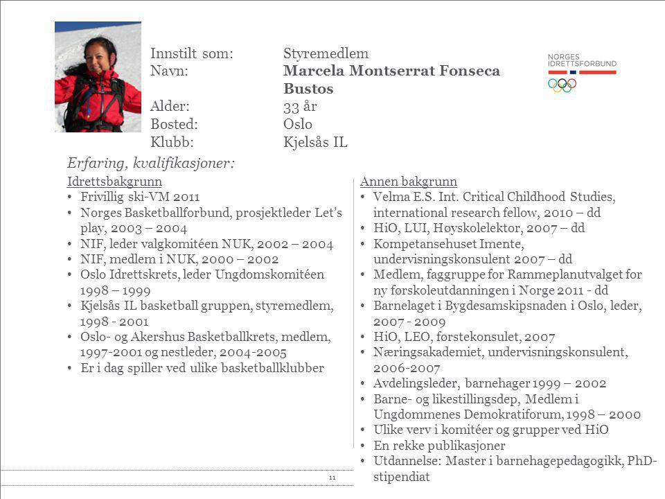 11© Norges idrettsforbund og olympiske og paralympiske komité Innstilt som: Styremedlem Navn:Marcela Montserrat Fonseca Bustos Alder:33 år Bosted:Oslo