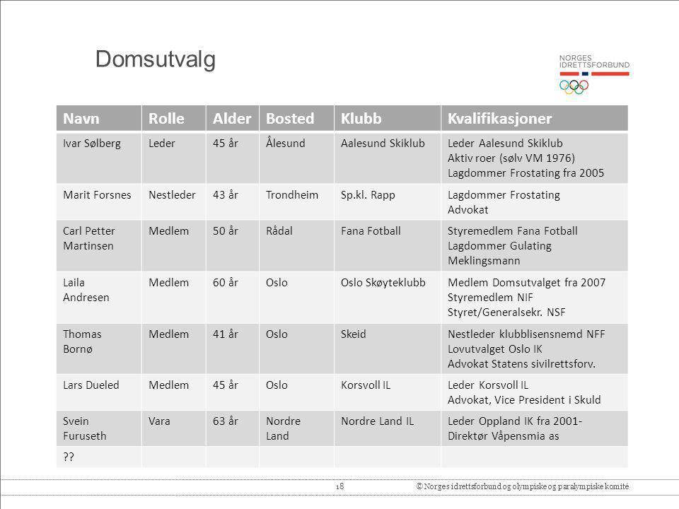 18© Norges idrettsforbund og olympiske og paralympiske komité Domsutvalg NavnRolleAlderBostedKlubbKvalifikasjoner Ivar SølbergLeder45 årÅlesundAalesun