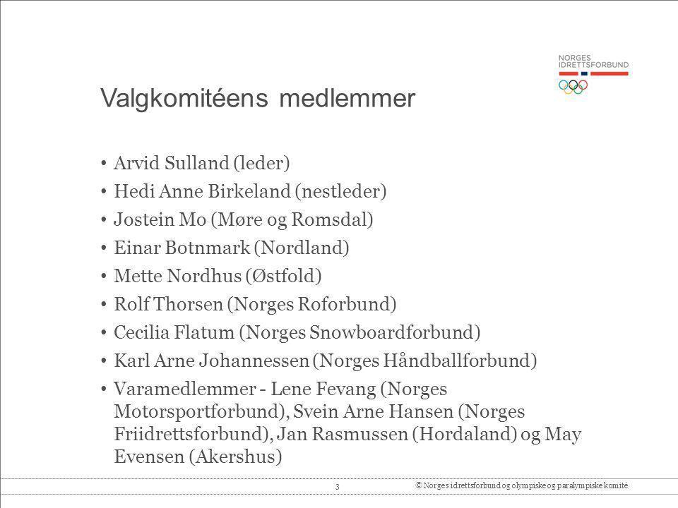 3© Norges idrettsforbund og olympiske og paralympiske komité Valgkomitéens medlemmer Arvid Sulland (leder) Hedi Anne Birkeland (nestleder) Jostein Mo