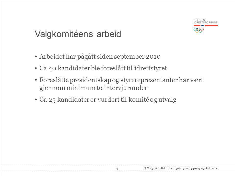 4© Norges idrettsforbund og olympiske og paralympiske komité Valgkomitéens arbeid Arbeidet har pågått siden september 2010 Ca 40 kandidater ble foresl