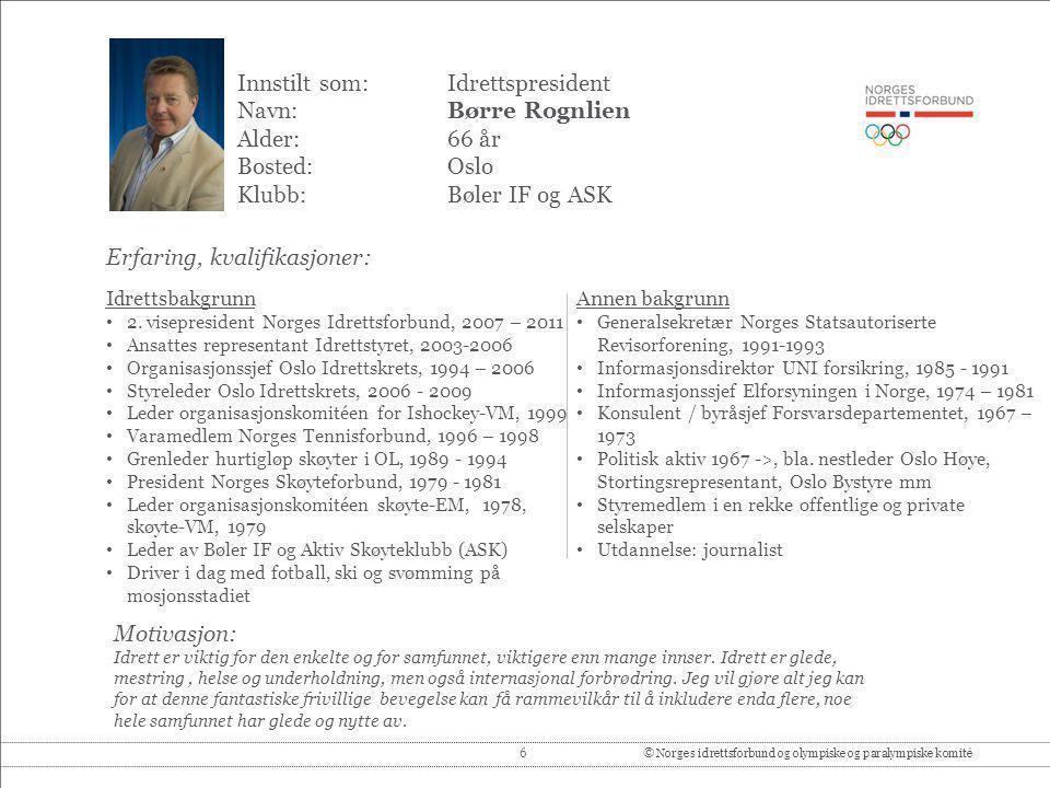 7© Norges idrettsforbund og olympiske og paralympiske komité Innstilt som: 1.