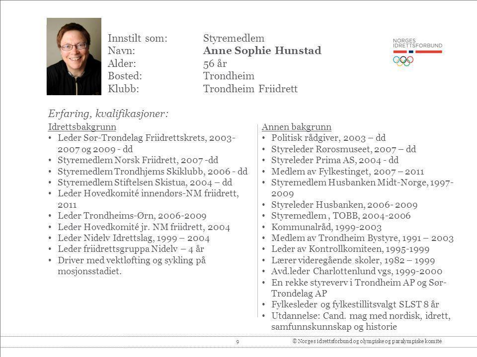 9© Norges idrettsforbund og olympiske og paralympiske komité Innstilt som: Styremedlem Navn:Anne Sophie Hunstad Alder:56 år Bosted:Trondheim Klubb:Tro