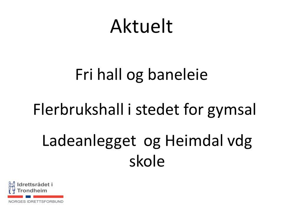 Aktuelt Fri hall og baneleie Flerbrukshall i stedet for gymsal Ladeanlegget og Heimdal vdg skole