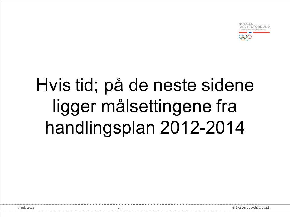 7. juli 2014 15© Norges Idrettsforbund Hvis tid; på de neste sidene ligger målsettingene fra handlingsplan 2012-2014