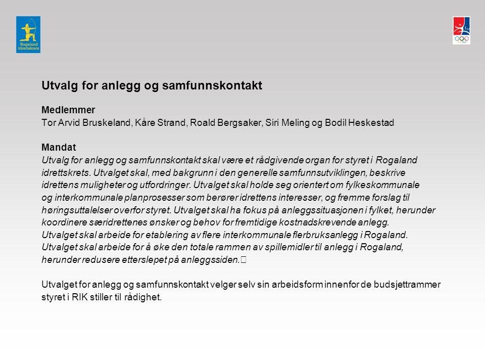 Utvalg for anlegg og samfunnskontakt Medlemmer Tor Arvid Bruskeland, Kåre Strand, Roald Bergsaker, Siri Meling og Bodil Heskestad Mandat Utvalg for anlegg og samfunnskontakt skal være et rådgivende organ for styret i Rogaland idrettskrets.