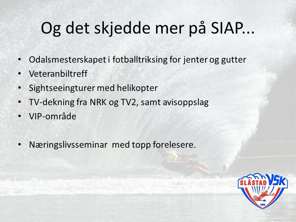 Og det skjedde mer på SIAP... Odalsmesterskapet i fotballtriksing for jenter og gutter Veteranbiltreff Sightseeingturer med helikopter TV-dekning fra