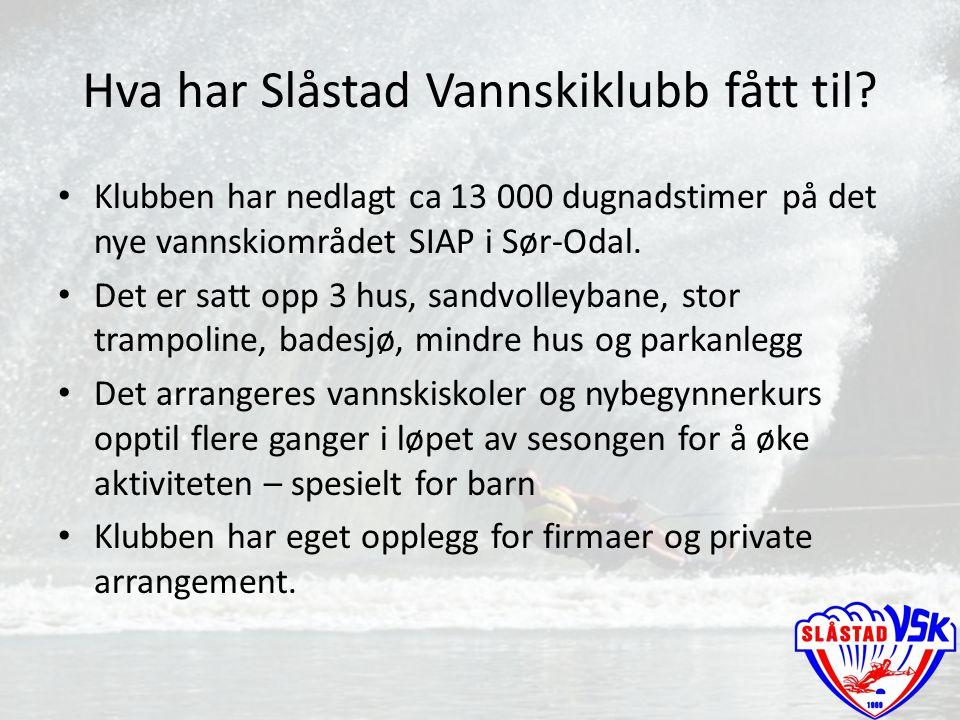 Hva har Slåstad Vannskiklubb fått til? Klubben har nedlagt ca 13 000 dugnadstimer på det nye vannskiområdet SIAP i Sør-Odal. Det er satt opp 3 hus, sa