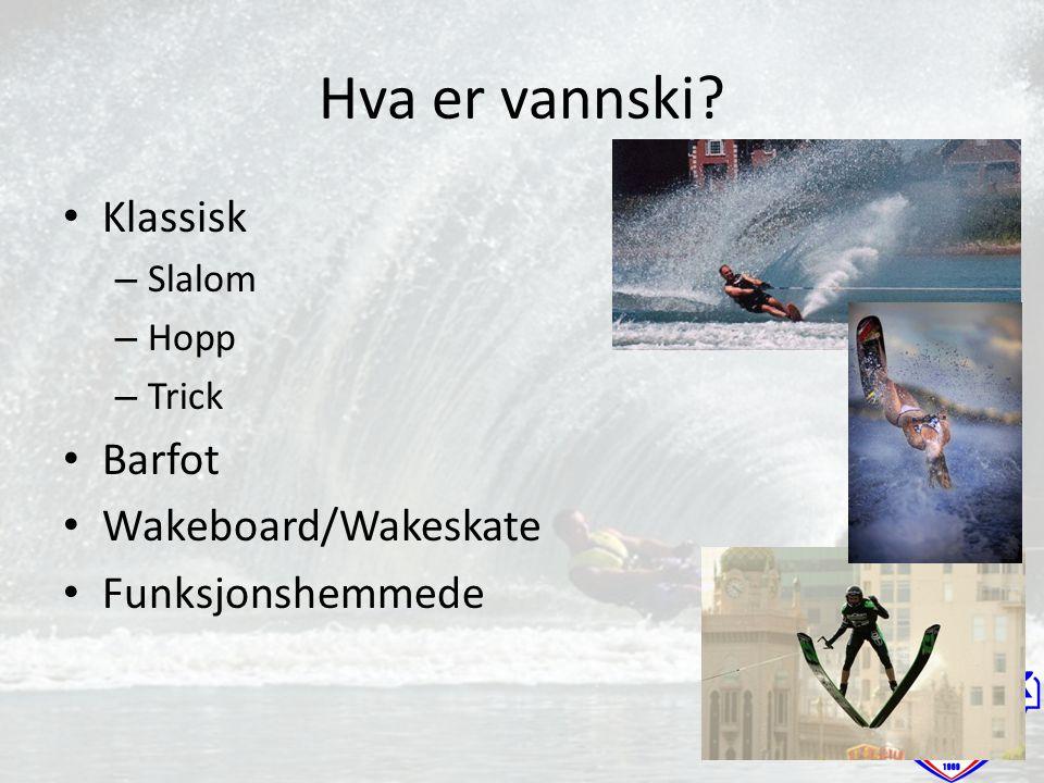 Hva er vannski? Klassisk – Slalom – Hopp – Trick Barfot Wakeboard/Wakeskate Funksjonshemmede
