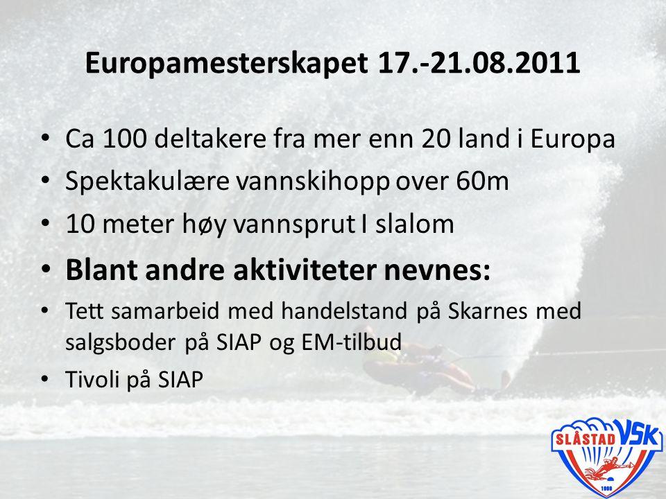 Europamesterskapet 17.-21.08.2011 Ca 100 deltakere fra mer enn 20 land i Europa Spektakulære vannskihopp over 60m 10 meter høy vannsprut I slalom Blan
