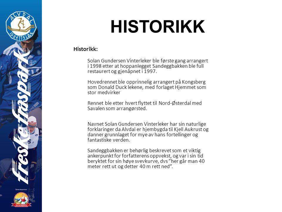 HISTORIKK Historikk: Solan Gundersen Vinterleker ble første gang arrangert i 1998 etter at hoppanlegget Sandeggbakken ble full restaurert og gjenåpnet i 1997.
