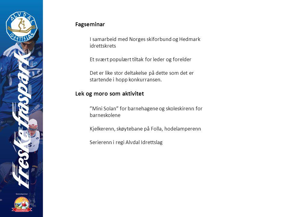 Fagseminar I samarbeid med Norges skiforbund og Hedmark idrettskrets Et svært populært tiltak for leder og forelder Det er like stor deltakelse på dette som det er startende i hopp konkurransen.