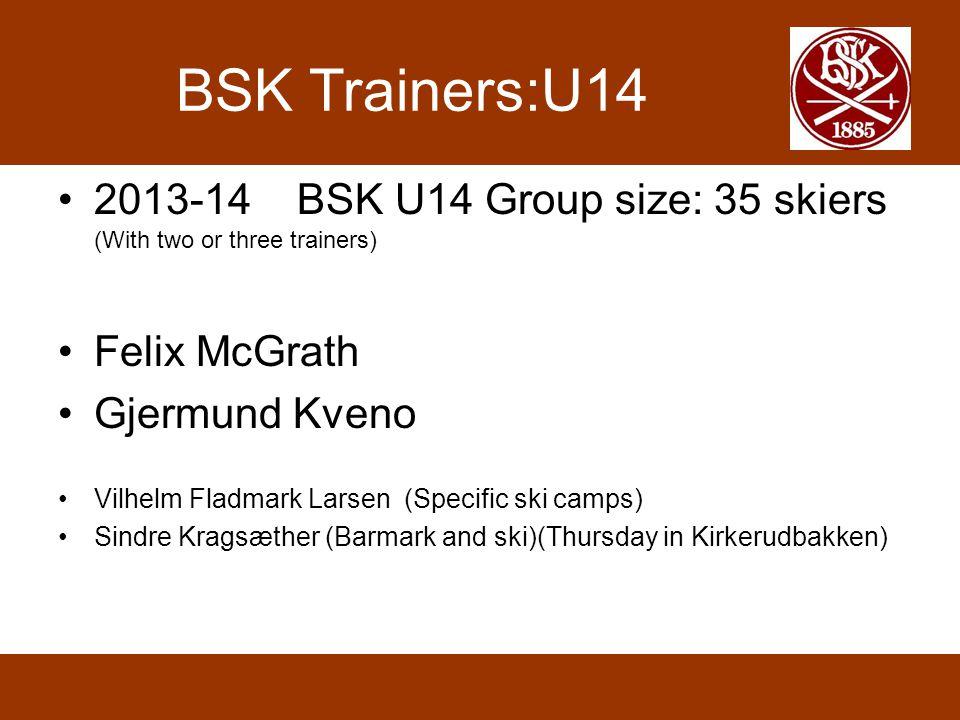 BSK Trainers:U14 2013-14 BSK U14 Group size: 35 skiers (With two or three trainers) Felix McGrath Gjermund Kveno Vilhelm Fladmark Larsen (Specific ski camps) Sindre Kragsæther (Barmark and ski)(Thursday in Kirkerudbakken)