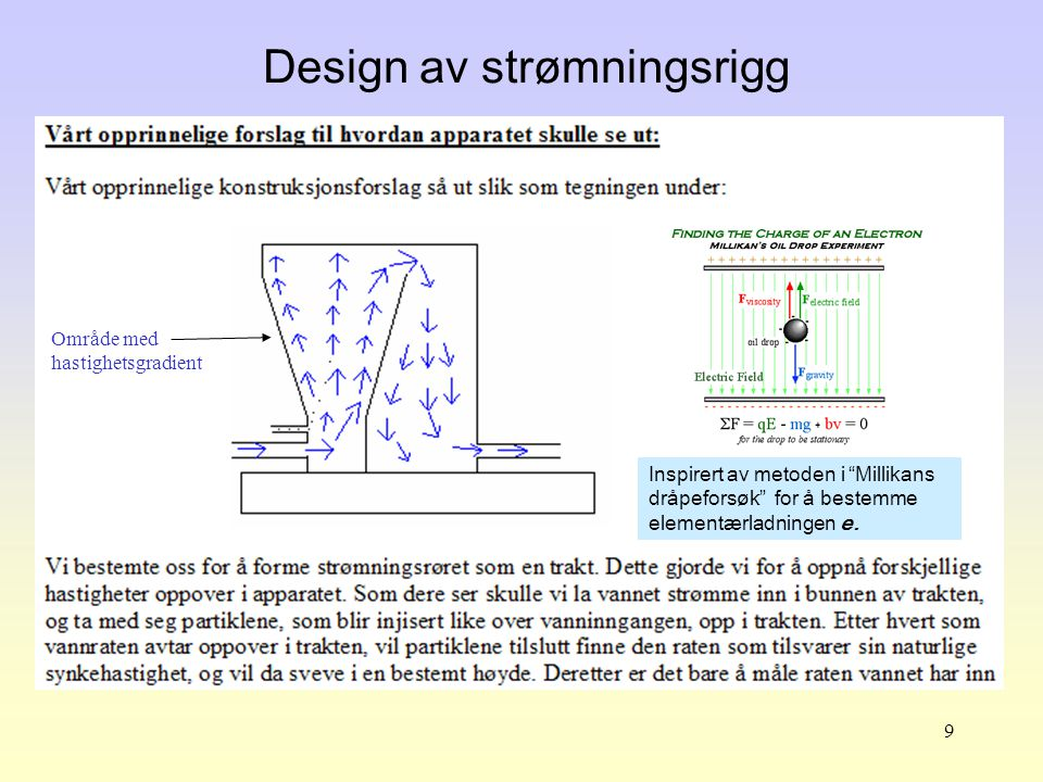 9 Design av strømningsrigg Område med hastighetsgradient Inspirert av metoden i Millikans dråpeforsøk for å bestemme elementærladningen e.