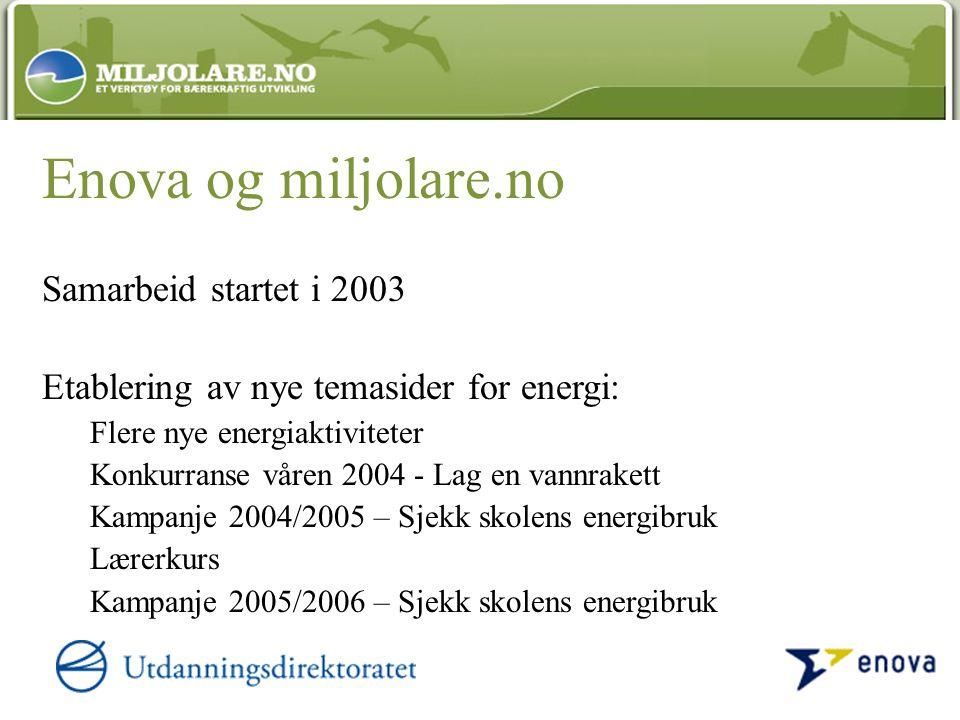 Enova og miljolare.no Samarbeid startet i 2003 Etablering av nye temasider for energi: Flere nye energiaktiviteter Konkurranse våren 2004 - Lag en van