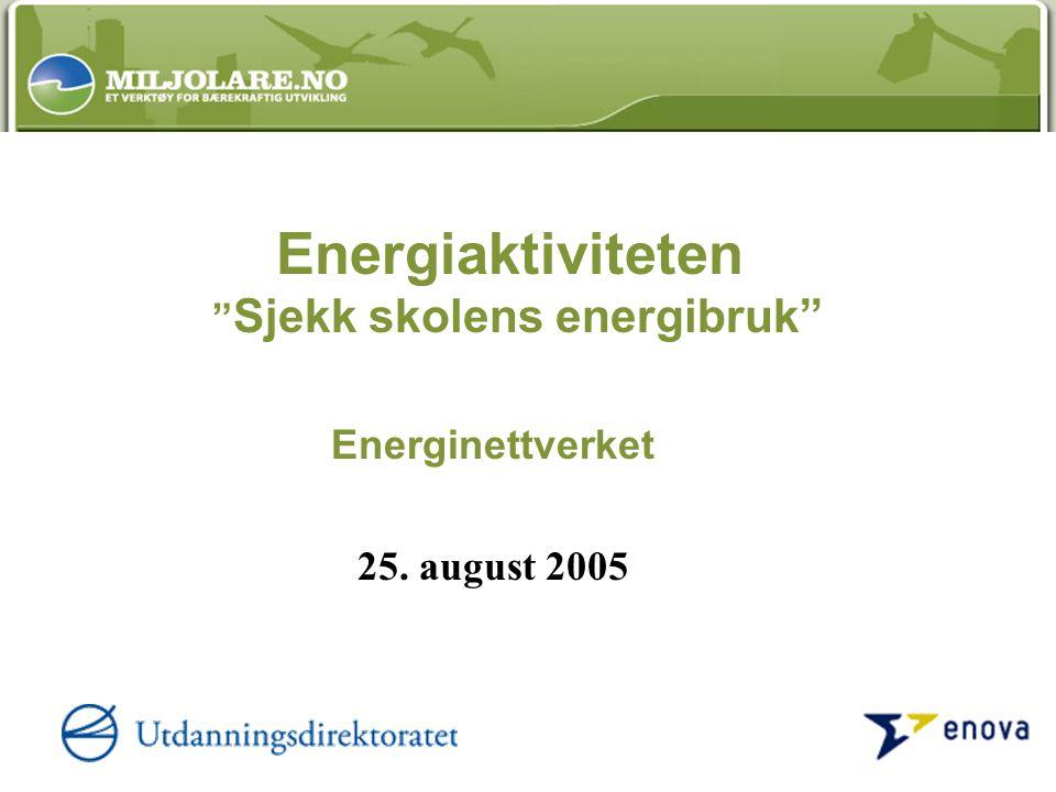 Energiaktiviteten Sjekk skolens energibruk Energinettverket 25. august 2005