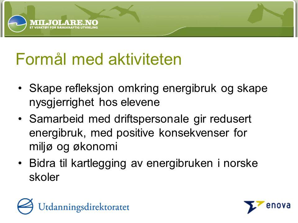 Formål med aktiviteten Skape refleksjon omkring energibruk og skape nysgjerrighet hos elevene Samarbeid med driftspersonale gir redusert energibruk, med positive konsekvenser for miljø og økonomi Bidra til kartlegging av energibruken i norske skoler