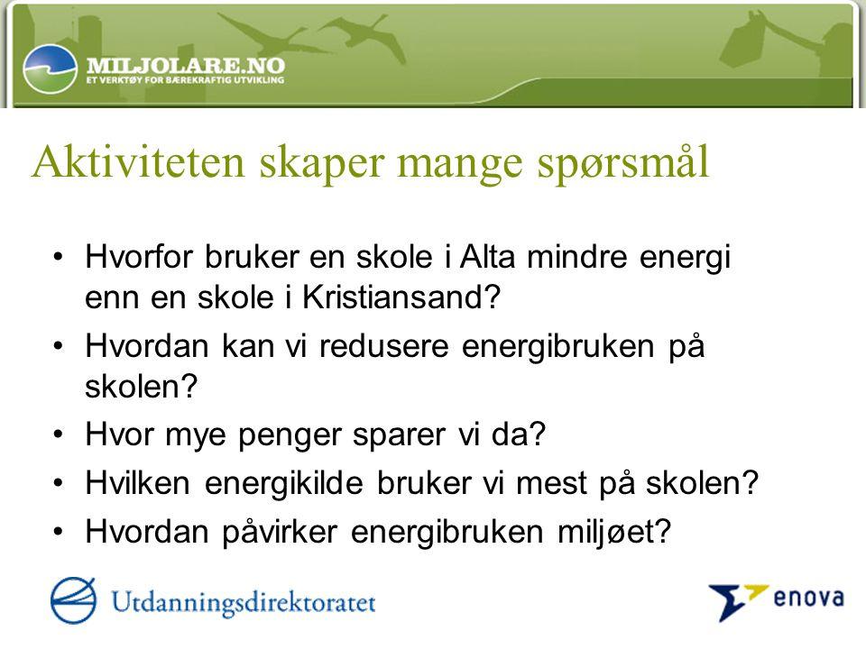 Aktiviteten skaper mange spørsmål Hvorfor bruker en skole i Alta mindre energi enn en skole i Kristiansand.
