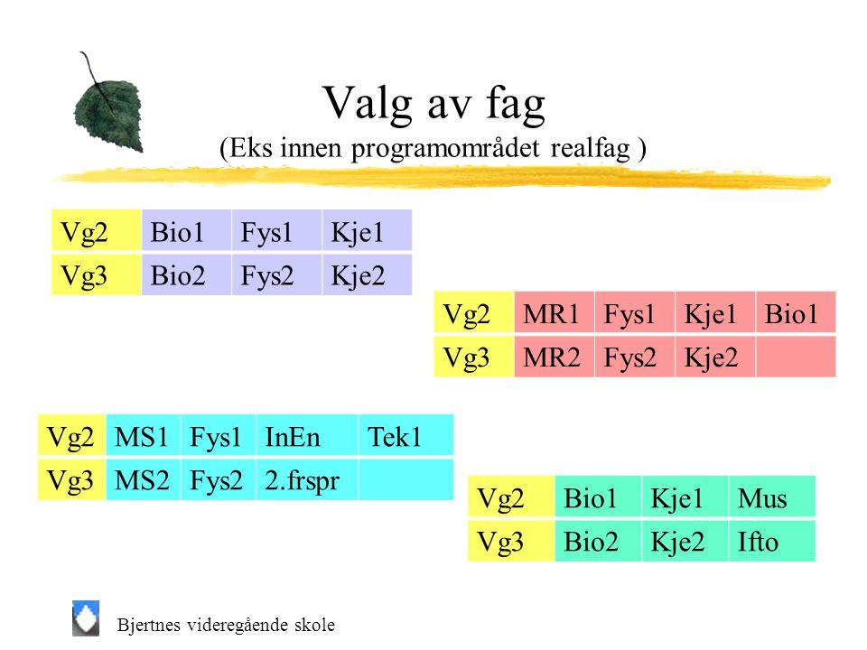 Bjertnes videregående skole Valg av fag (Eks innen programområdet realfag ) Vg2Bio1Kje1Mus Vg3Bio2Kje2Ifto Vg2MS1Fys1InEnTek1 Vg3MS2Fys22.frspr Vg2MR1Fys1Kje1Bio1 Vg3MR2Fys2Kje2 Vg2Bio1Fys1Kje1 Vg3Bio2Fys2Kje2