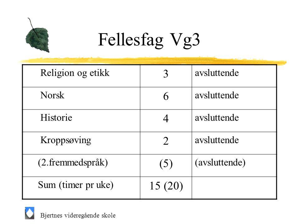 Bjertnes videregående skole Fellesfag Vg3 Religion og etikk 3 avsluttende Norsk 6 avsluttende Historie 4 avsluttende Kroppsøving 2 avsluttende (2.fremmedspråk) (5) (avsluttende) Sum (timer pr uke) 15 (20)