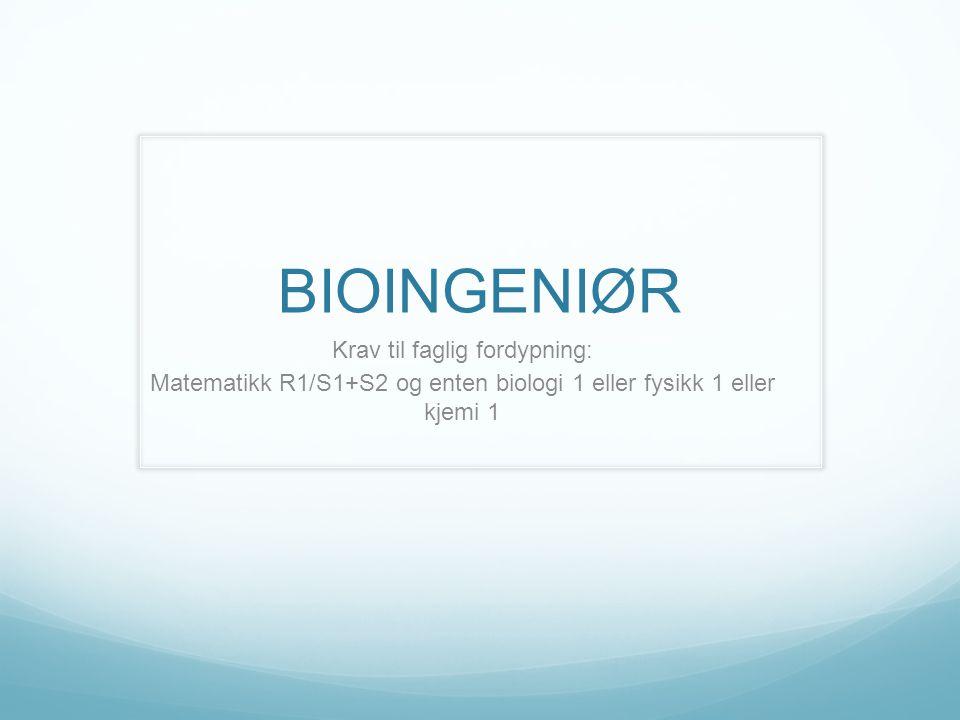 BIOINGENIØR Krav til faglig fordypning: Matematikk R1/S1+S2 og enten biologi 1 eller fysikk 1 eller kjemi 1