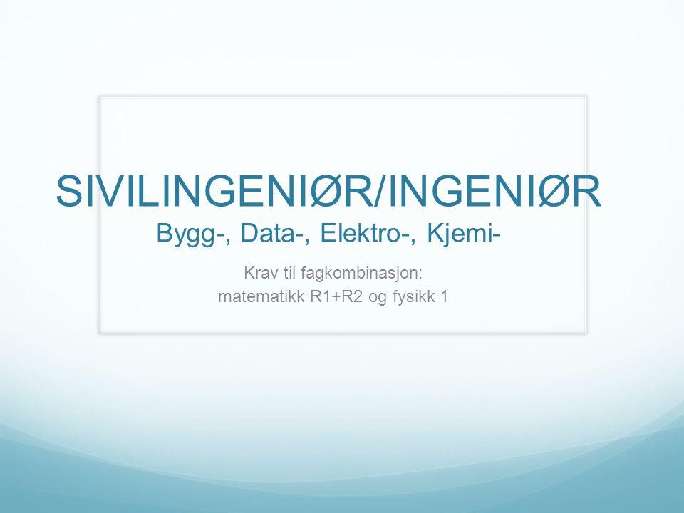 SIVILINGENIØR/INGENIØR Bygg-, Data-, Elektro-, Kjemi- Krav til fagkombinasjon: matematikk R1+R2 og fysikk 1