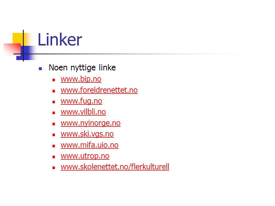 Linker Noen nyttige linke www.bip.no www.foreldrenettet.no www.fug.no www.vilbli.no www.nyinorge.no www.ski.vgs.no www.mifa.uio.no www.utrop.no www.sk