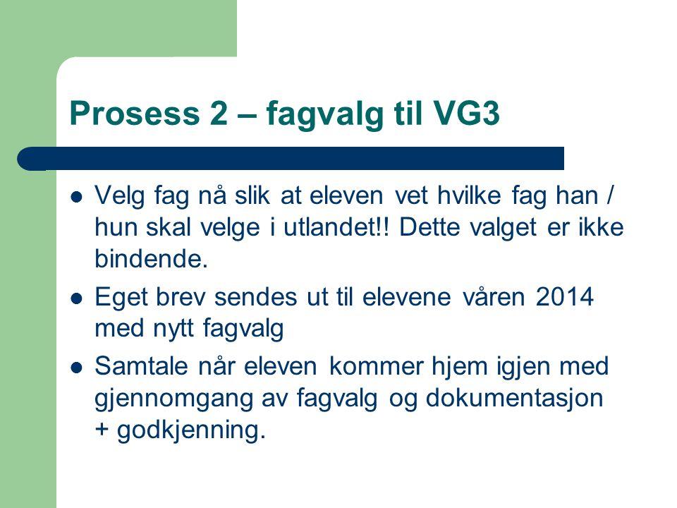 Prosess 2 – fagvalg til VG3 Velg fag nå slik at eleven vet hvilke fag han / hun skal velge i utlandet!.