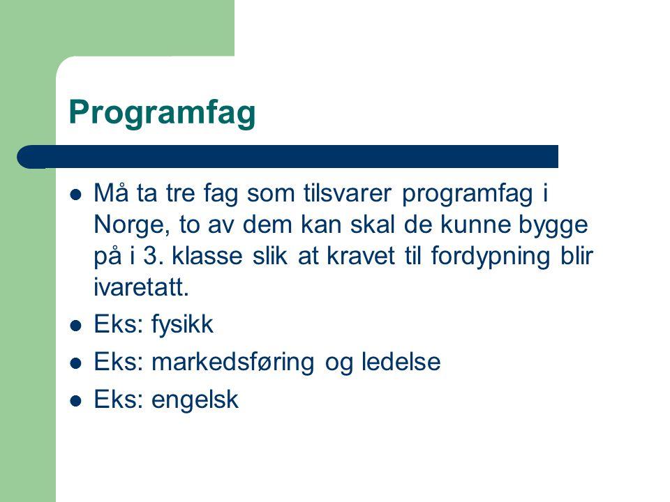 Programfag Må ta tre fag som tilsvarer programfag i Norge, to av dem kan skal de kunne bygge på i 3.