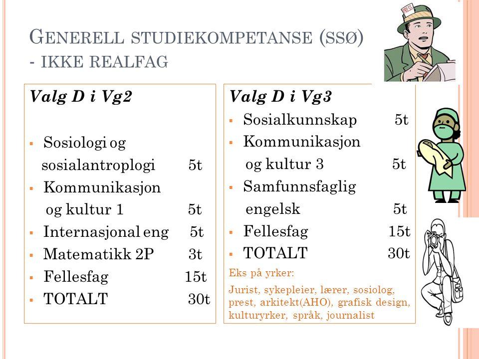 G ENERELL STUDIEKOMPETANSE ( SSØ ) - IKKE REALFAG Valg D i Vg2  Sosiologi og sosialantroplogi 5t  Kommunikasjon og kultur 1 5t  Internasjonal eng 5