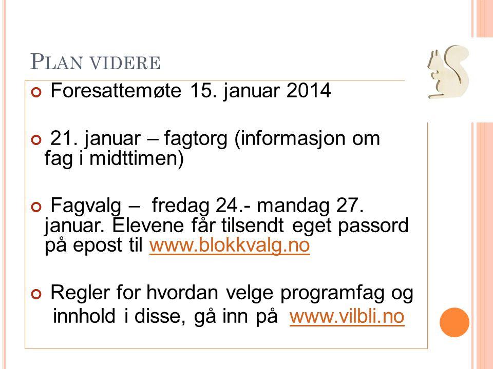 P LAN VIDERE Foresattemøte 15. januar 2014 21. januar – fagtorg (informasjon om fag i midttimen) Fagvalg – fredag 24.- mandag 27. januar. Elevene får
