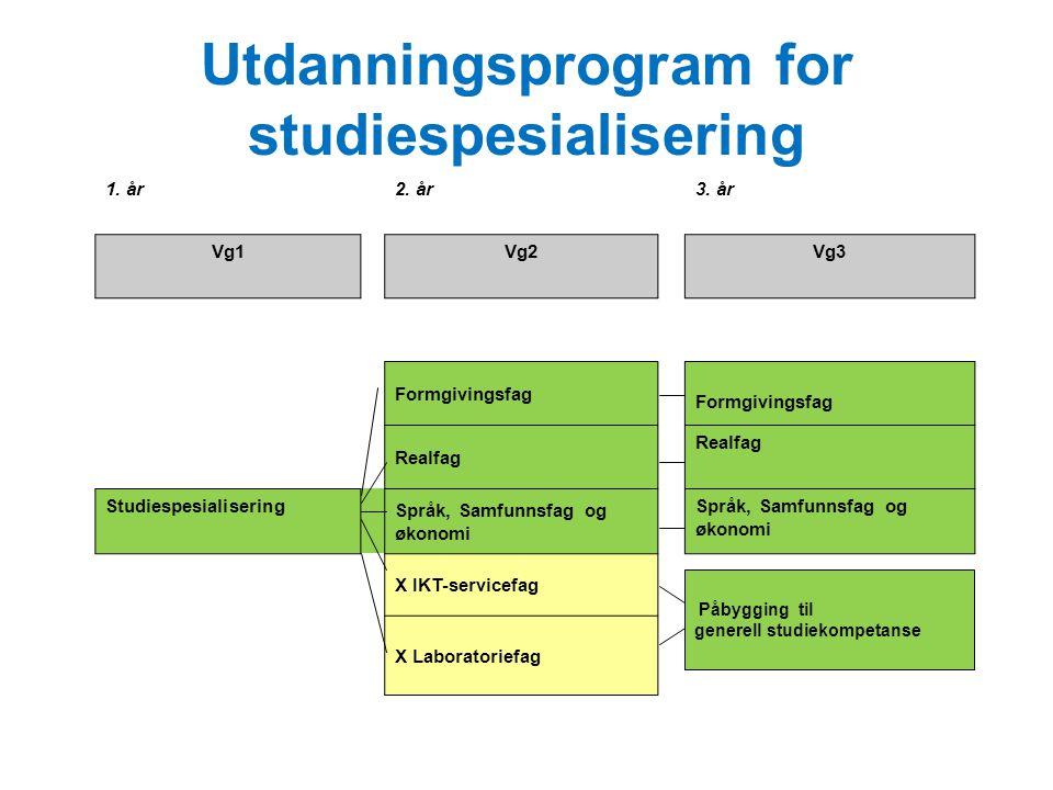 Utdanningsprogram for studiespesialisering 1. år2. år3. år Vg1Vg2Vg3 Formgivingsfag Realfag Studiespesialisering Språk, Samfunnsfag og økonomi X IKT-s