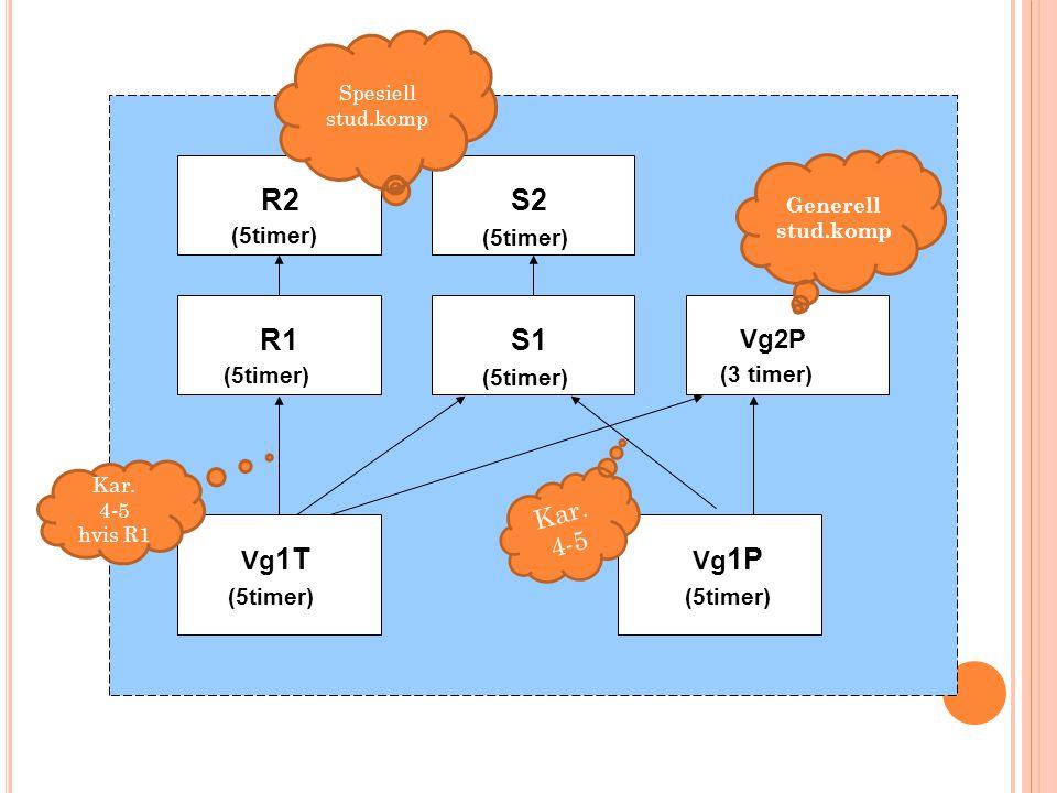 Vg 1T (5timer) Vg 1P (5timer) R1 (5timer) S1 (5timer) Vg2P (3 timer) R2 (5timer) S2 (5timer) Generell stud.komp Spesiell stud.komp Kar. 4-5 Kar. 4-5 h