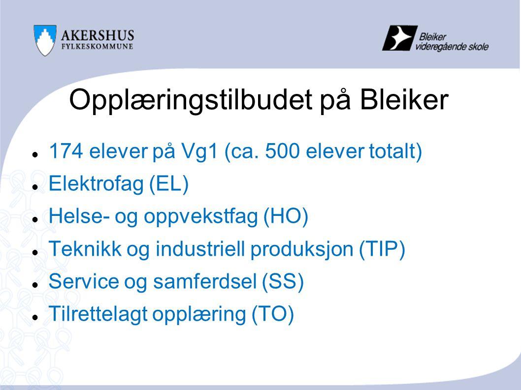 Opplæringstilbudet på Bleiker 174 elever på Vg1 (ca.