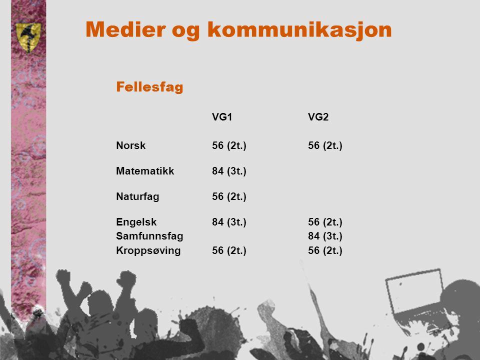 Medier og kommunikasjon Fellesfag VG1 VG2 Norsk56 (2t.)56 (2t.) Matematikk84 (3t.) Naturfag56 (2t.) Engelsk84 (3t.)56 (2t.) Samfunnsfag84 (3t.) Kroppsøving56 (2t.)56 (2t.)