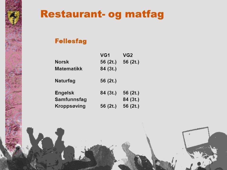 Restaurant- og matfag Fellesfag VG1 VG2 Norsk56 (2t.)56 (2t.) Matematikk84 (3t.) Naturfag56 (2t.) Engelsk84 (3t.)56 (2t.) Samfunnsfag84 (3t.) Kroppsøving56 (2t.)56 (2t.)