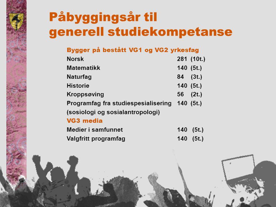Bygger på bestått VG1 og VG2 yrkesfag Norsk281 (10t.) Matematikk140 (5t.) Naturfag84 (3t.) Historie140 (5t.) Kroppsøving 56 (2t.) Programfag fra studiespesialisering 140 (5t.) (sosiologi og sosialantropologi) VG3 media Medier i samfunnet140 (5t.) Valgfritt programfag140 (5t.)