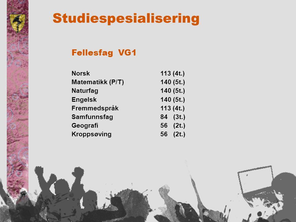 Studiespesialisering Fellesfag VG1 Norsk113 (4t.) Matematikk (P/T)140 (5t.) Naturfag140 (5t.) Engelsk140 (5t.) Fremmedspråk113 (4t.) Samfunnsfag84 (3t.) Geografi56 (2t.) Kroppsøving56 (2t.)