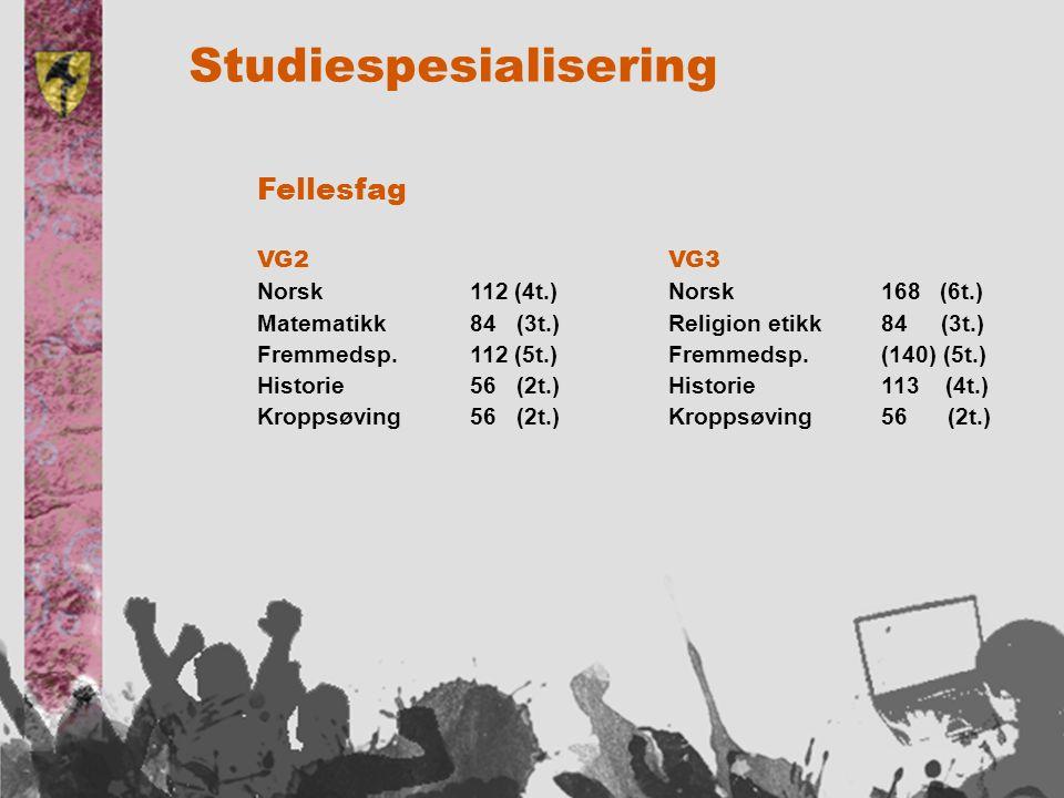 Studiespesialisering Fellesfag VG3 Norsk168 (6t.) Religion etikk84 (3t.) Fremmedsp.(140) (5t.) Historie113 (4t.) Kroppsøving56 (2t.) VG2 Norsk112 (4t.) Matematikk84 (3t.) Fremmedsp.112 (5t.) Historie56 (2t.) Kroppsøving56 (2t.)