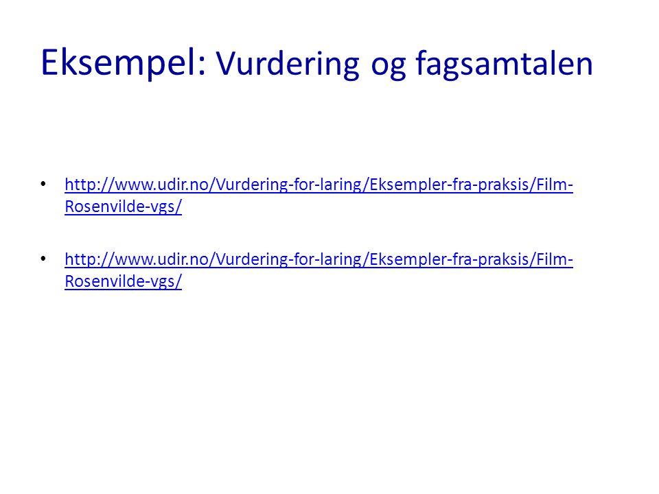 Eksempel: Vurdering og fagsamtalen http://www.udir.no/Vurdering-for-laring/Eksempler-fra-praksis/Film- Rosenvilde-vgs/ http://www.udir.no/Vurdering-fo