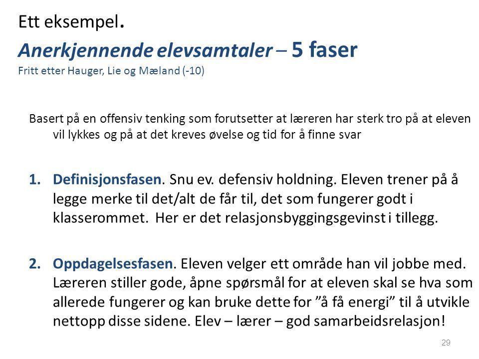 Ett eksempel. Anerkjennende elevsamtaler – 5 faser Fritt etter Hauger, Lie og Mæland (-10) Basert på en offensiv tenking som forutsetter at læreren ha