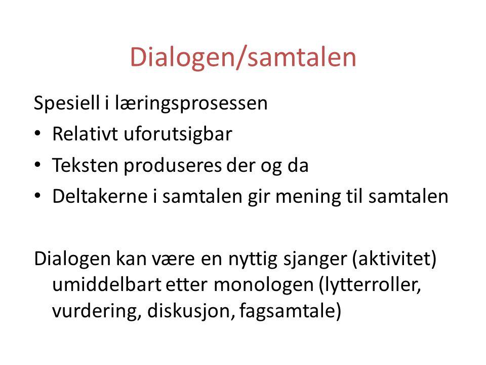Dialogen/samtalen Spesiell i læringsprosessen Relativt uforutsigbar Teksten produseres der og da Deltakerne i samtalen gir mening til samtalen Dialoge