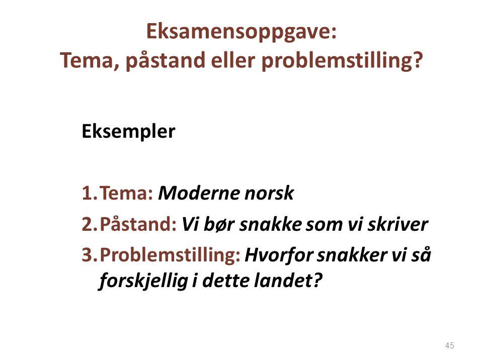 Eksamensoppgave: Tema, påstand eller problemstilling? Eksempler 1.Tema: Moderne norsk 2.Påstand: Vi bør snakke som vi skriver 3.Problemstilling: Hvorf